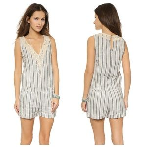 Cynthia Vincent Striped Linen Drop Waist Romper